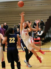 Reaching for the basketball Friday are Canton's Madison