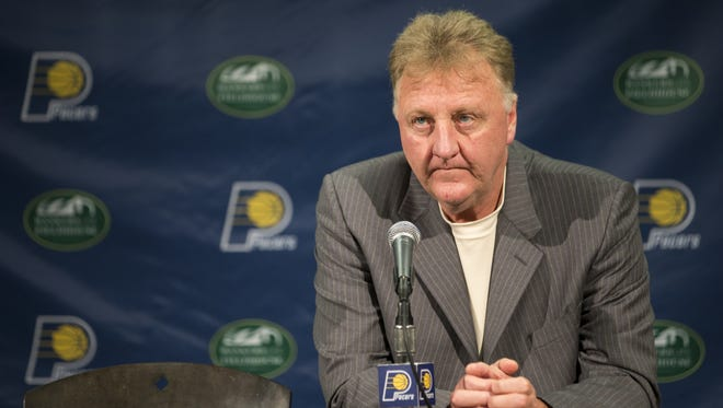 Larry Bird, Pacers Team President, at a press conference to announce new players, Bankers Life Fieldhouse, Indianapolis, Friday, July 8, 2016.