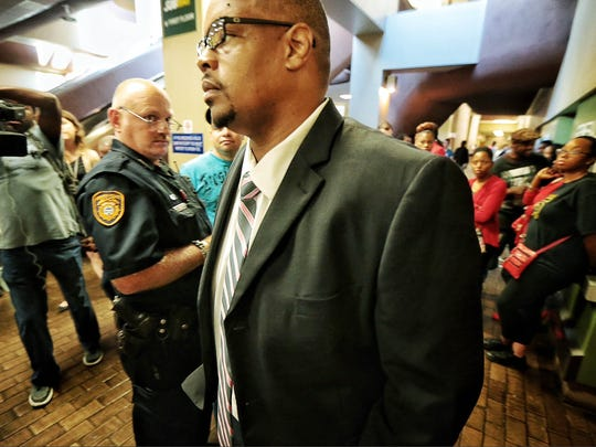 Former Grizzlies announcer Rick Trotter makes a quick stop in court  for a hearing that was reset on charges that he photographed someone without their consent at the Downtown Church.  (Jim Weber/The Commercial Appeal)