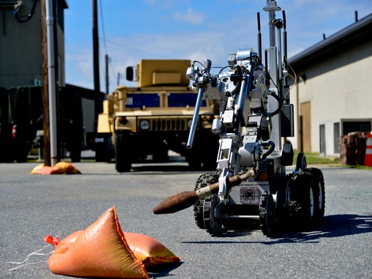 The F6A Robit is part of the Explosive Ordnance Disposal equipment at Dover Air Force Base.