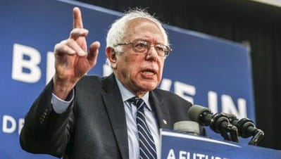 Vermont Senator and Democratic presidential candidate Bernie Sanders speaks at a campaign event at the Delaware County Fairgrounds Community Center in Manchester, Iowa, USA 30 January 2016.