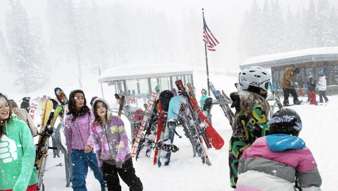 Young skiers enjoy the day. The Stadium Express at Mt. Hood Meadows is Oregon's first new ski lift since 2007. The high-speed lift makes it much easier for snow-lovers to access less-explored stretches of the mountain. Wednesday, Feb. 29, 2012.