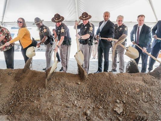 Indianapolis Mayor Joe Hogsett breaks ground on site of Community Justics Campus.