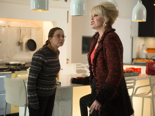"Saffy (Julia Sawalha, left) and Patsy (Joanna Lumley) still can't get along in ""Absolutely Fabulous: The Movie."" Fans are delighted by that news."