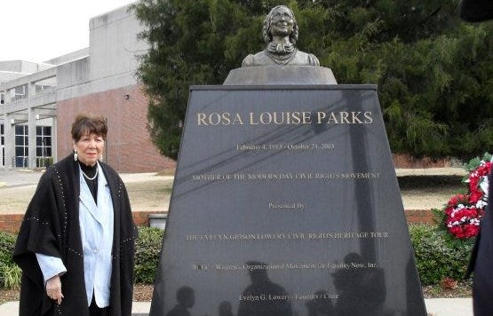 The late Evelyn Gibson Lowery stands near a monument erected by her organization to the memory of Rosa Parks, in Montgomery, Ala., in 2010.