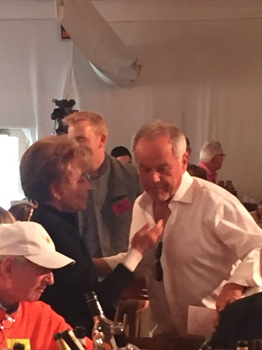 Judge Judy and celebrity chef Wolfgang Puck greet each