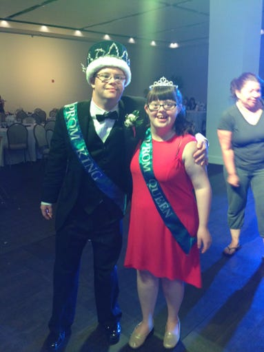 Middletown High School South seniors Patrick Givens and Anna Matuzsak win their school's prom king and queen on June 13.