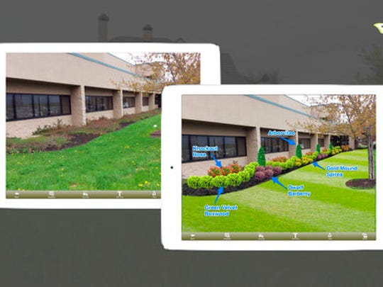 This image provided by iScape shows a screen shot of the company's web site showcasing before and after views of landscaping changes using their mobile garden and landscape design application.