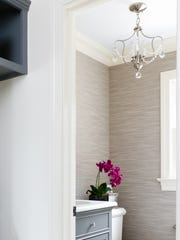 This powder room has stain resistant, textured, washable
