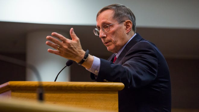 Judge Victor V. Ludwig addresses the Augusta County Board of Supervisors during a public meeting in Verona on Monday, July 20, 2015.