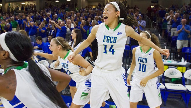 FGCU's Whitney Knight celebrates winning the Atlantic Sun Championship game in March at Alico Arena in Fort Myers. FGCU beat Northern Kentucky University 60-43.