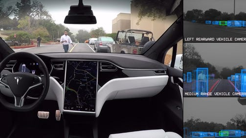 Tesla demonstrates the capabilities of its Autopilot hardware.