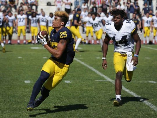 Michigan's Nate Johnson catches the ball against Josh
