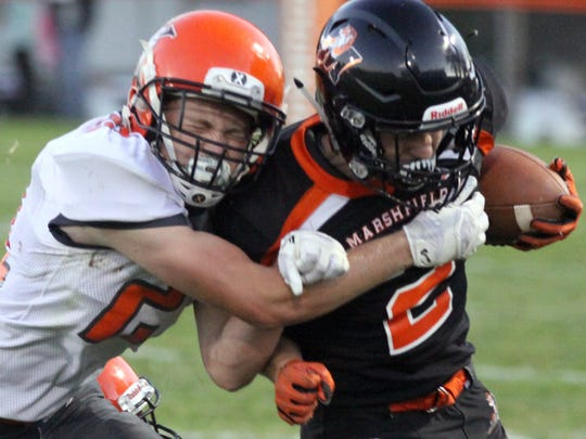 Senior running back Brant Bohman has rushed for a team-high 362 yards and seven touchdowns for unbeaten Marshfield entering Friday's matchup with rival SPASH.