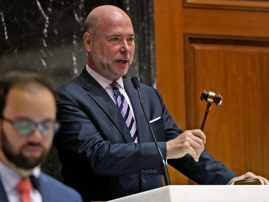 Speaker of the House Brian Bosma bangs the gavel bringing
