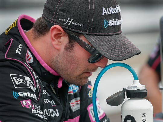 Meyer Shank SPM Racing IndyCar driver Jack Harvey (60) prepares himself during Pole Day at the Indianapolis Motor Speedway on Sunday, May 20, 2018. for the Indianapolis 500.