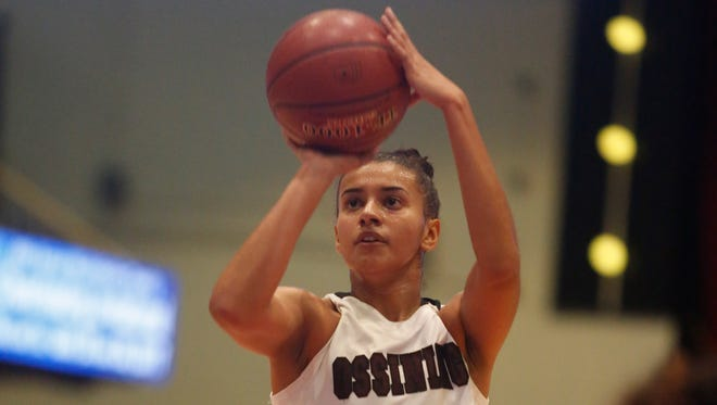 Ossining's Andra Espinoza-Hunter (2) shoots during the consolation game against Bishop Loughlin at the18th Annual Slam Dunk Tournament at the Westchester County Center in White Plains on Dec. 29, 2016.  Ossining won 86-64.
