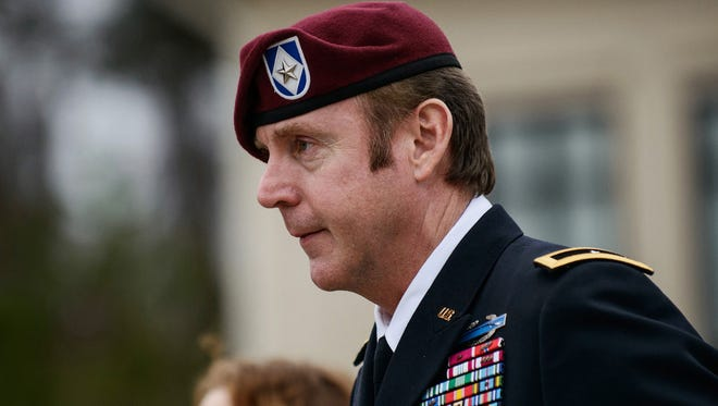 Brig. Gen. Jeffrey Sinclair leaves the courthouse at Fort Bragg, N.C., on March 4.