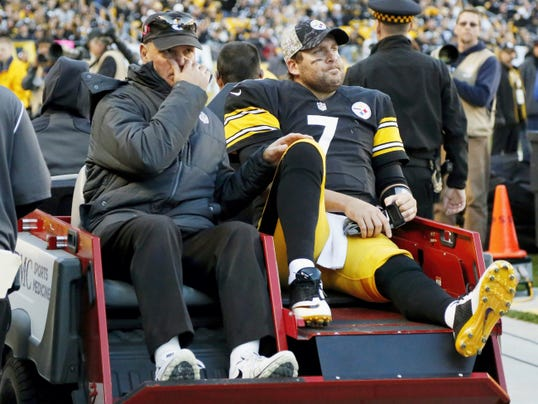 Pittsburgh Steelers quarterback Ben Roethlisberger is taken a way in a cart after he was injured during the fourth quarter of Sunday's game against the Oakland Raiders in Pittsburgh. The Steelers won, 38-35.