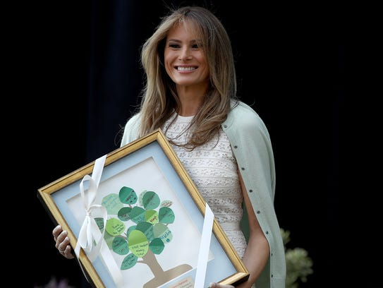 Melania Trump was pleased with the gift presented to