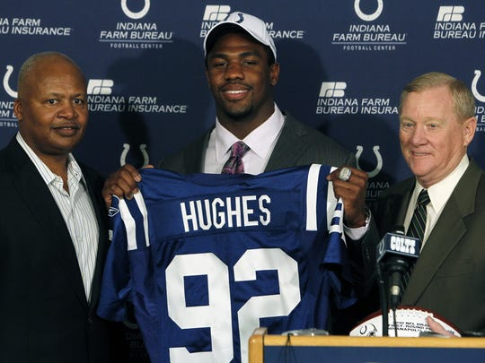 Head coach Jim Caldwell and Colts President Bill Polian introduce Jerry Hughes. The newest Indianapolis Colt player Jerry Hughes was introduced to the media at the Colts Complex in Indianapolis, IN on Friday, April 23, 2010. Hughes was drafted by the Colts in the first round, 31st overall. (Sam Riche / The Indianapolis Star)