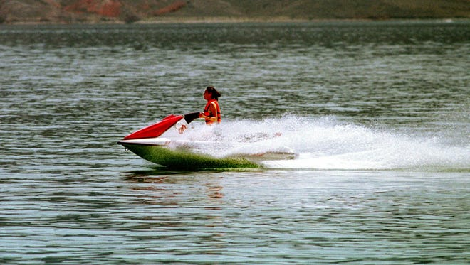 A personal watercraft is shown being operated on Lake Mead near Boulder City, Nev., in 1998.