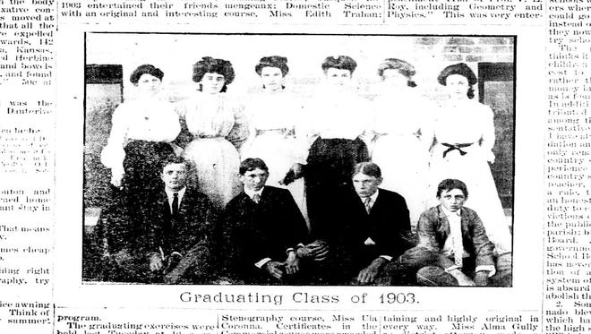 David Barry provided this photo from a 1903 newspaper of SLI's first class.