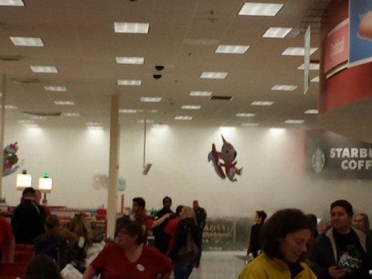 Smoke inside the Target store on Mills Civic Parkway. The store suffered a minor fire on Thursday, Nov. 26.