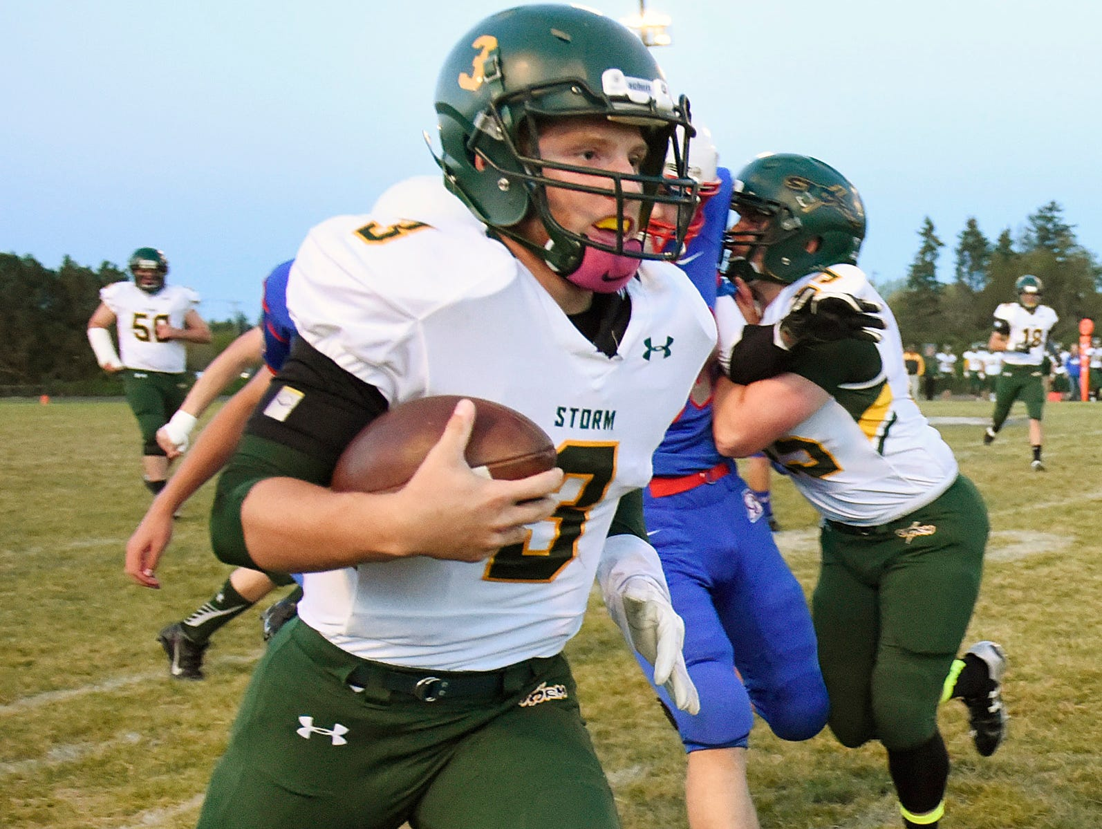 Sauk Rapids' Matt Johnson runs with the ball against St. Cloud Apollo on Oct. 2. Johnson is a senior quarterback/defensive back.