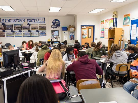 Mark DelPercio's classroom reflects Middletown High School's overcrowding and why a referendum proposing a new K-12 campus at the Fairview Campus has been launched.