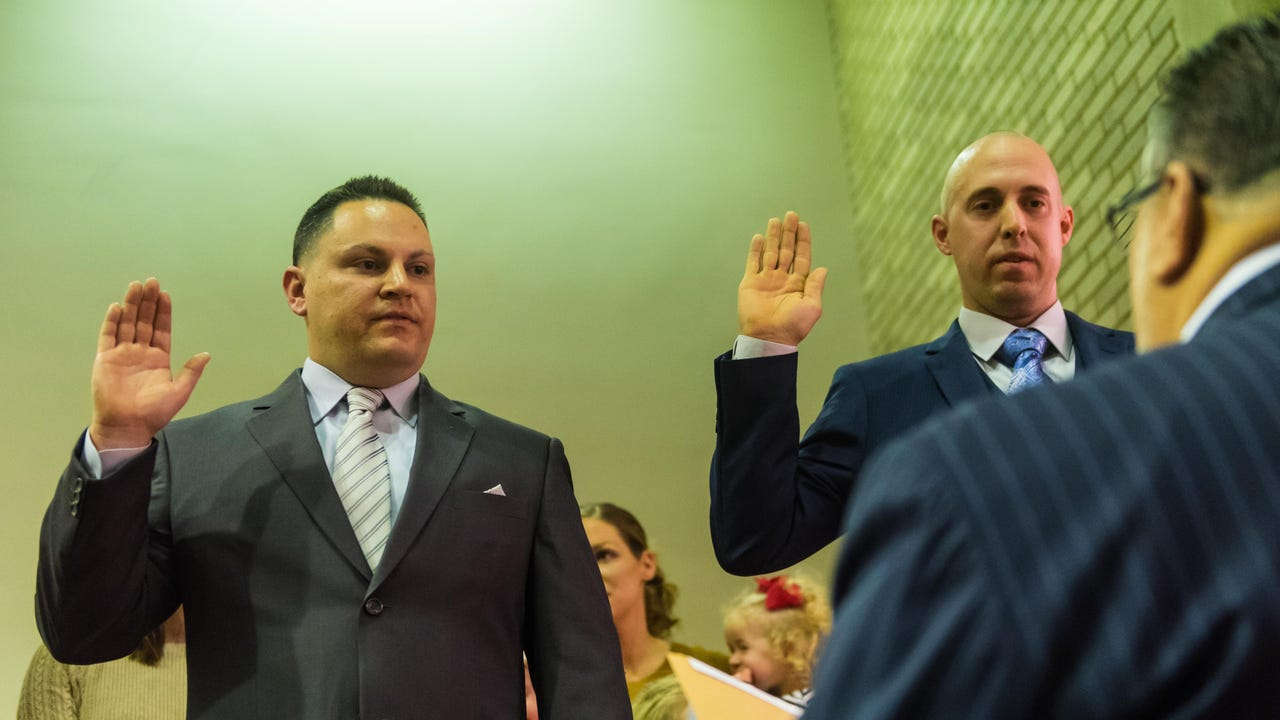 The Vineland Fire Department became two members stronger with the swearing in of Frank DiNunzio and Thomas Spigelmyer by Mayor Anthony Fanucci on Friday, December 22.