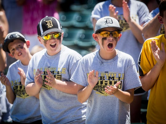 Daleville fans cheer on their team during the team's