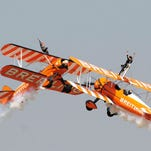 Skywalkers perform during the 10th edition of Aero India-2015 on Feb. 19 at Yelahanka air base in Bangalore, India.