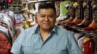 Alejandro Rivera, owner of Rivera Western Wear on S. Chavez Drive in his shop: Rivera brought his family to the U.S. in 1992
