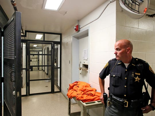 Lt. Chad Jackson, Coshocton County Jail administrator, gave Tribune reporters a tour of the county jail, which is attached to the Sheriff's Office. This area serves as a processing area with a sally port and it includes a padded cell. The Tribune was not permitted to photograph inmates
