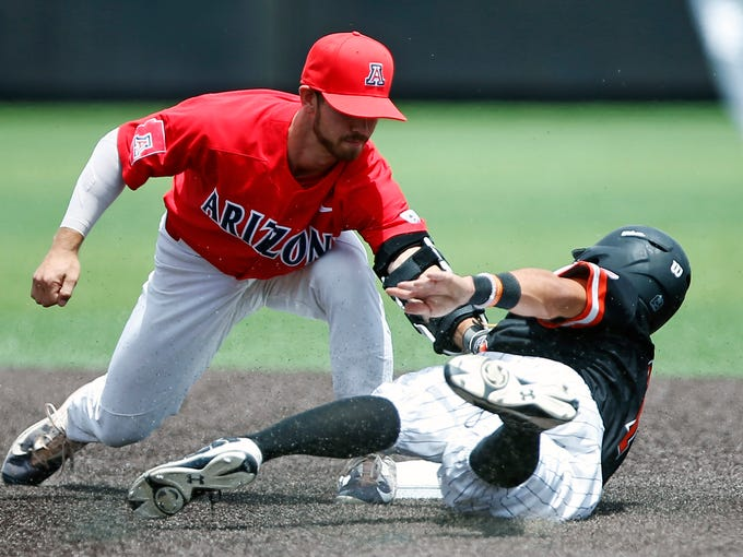 Arizona's Louis Boyd (5) tags out Sam Houston State's