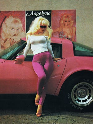 "Angelyne made a bid for pop stardom with the single ""My List"" in 1983."