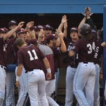 Missouri State's Spencer Johnson (34) gets a big reception from teammates after his fifth-inning home run Wednesday night.