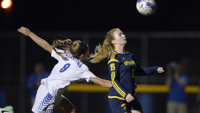 Spencerport's Leah Wengender, right, shown in a match last month, is the Rangers' top scorer this fall.