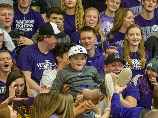 Norwalk boys basketball beat Winterset Feb. 26 in Waukee,