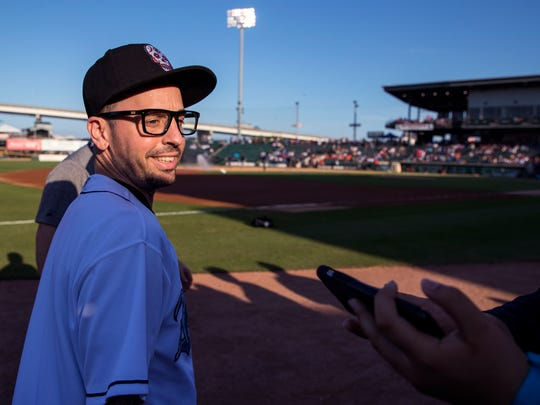"Chauncey Leopardi (left), who played Squints in ""The Sandlot,"" takes the field for a pre-game show before throwing out the first pitch for the Hooks game at Whataburger Field on Saturday, April 28, 2018."