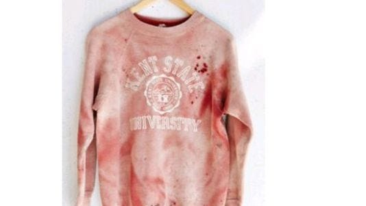 The controversial Kent State Urban Outfitters sweatshirt.