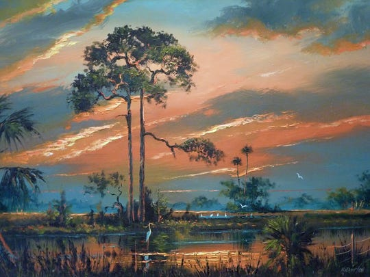 "Florida Highwaymen artist Harold Newton painted this landscape titled ""Fire Sky."""