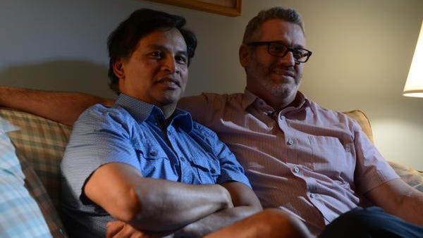 Johno Espejo, left, and Matthew Mansell are one of the first couples in Tennessee to have same-sex marriage recognition.  They talked about their legal battle to have their marriage recognized by the state of Tennessee Thursday, March 20, 2014 as they sat in their home in Franklin, Tenn.