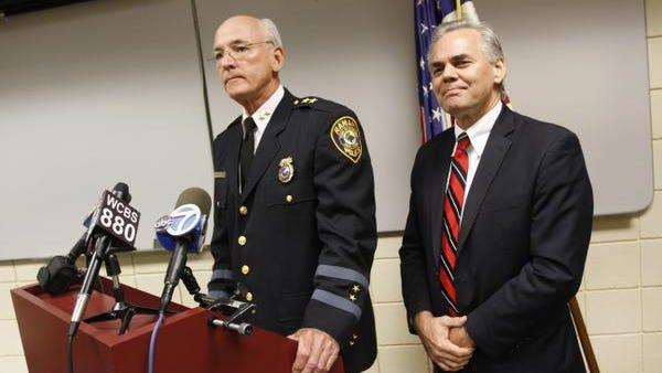 Ramapo Police Chief Peter Brower and Ramapo Town Supervisor and Police Commissioner Christopher St. Lawrence at a press conference on Aug. 8, 2013.