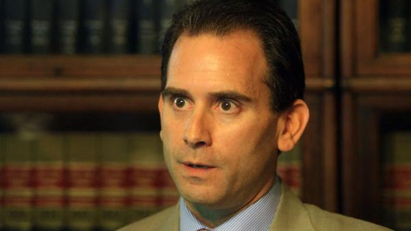Putnam County District Attorney Adam Levy announces his defamation lawsuit against Putnam Sheriff Donald Smith, while in his lawyers office in Carmel on Aug. 14, 2013.