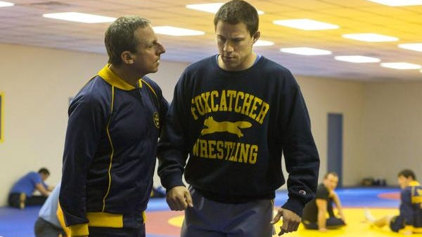 """Steve Carell and Channing Tatum in a scene from """"Foxcatcher."""""""
