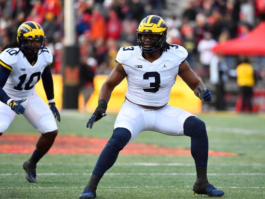 Michigan defensive lineman Rashan Gary rushes the passer
