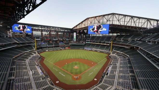 The Seattle Mariners play the Texas Rangers in an Aug. 20 game at Globe Life Field in Arlington, Texas. The World Series will be played entirely at the Texas Rangers' new ballpark in Arlington, the first time the sport's championship will be played entirely at one site since 1944.