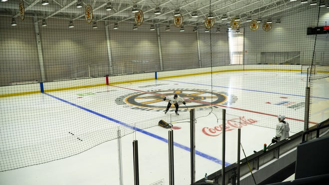 Members of the Boston Bruins were able to practce at Warrior Ice Arena beginning on Monday, June 8, 2020.
